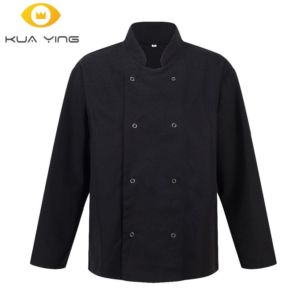 Chef Coat Unisex Long Sleeve  Chef Wear Uniform Man Chefs Wear Chef Black / White  Jacket Restaurant Uniforms