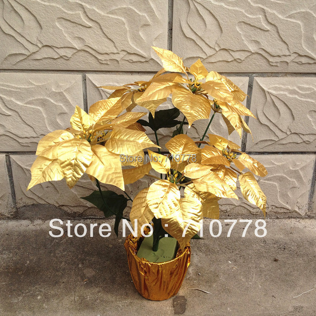 5pcs 7 forks gold christmas flower poinsettia artificial fabric fake silk plastic flower without flowerpot christmas decoration in artificial dried 5pcs 7 forks gold christmas flower poinsettia artificial fabric fake silk plastic flower without flowerpot
