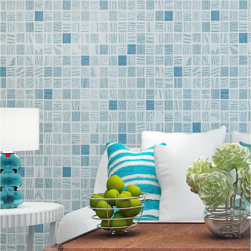 Beibehang Modern minimalist mosaic wallpaper bedroom living room television background wall Mediterranean style 3D wallpaper beibehang modern minimalist mediterranean blue wallpaper living room bedroom wallpaper brown vertical stripes retro background
