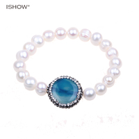 Blue crystal inlaid natural stone statement Pearl bracelets for women trendy jewelry water drop adjustable pearl bracelet mujer