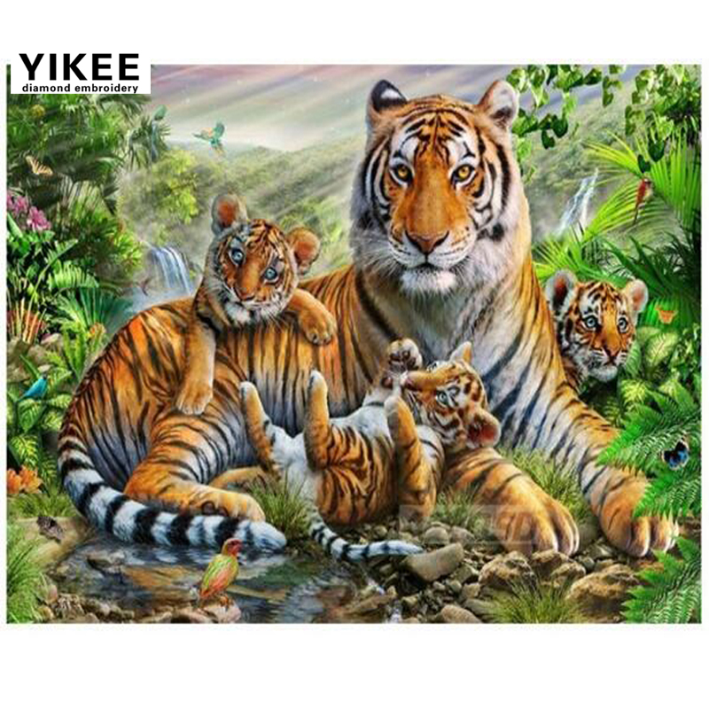 """Diamond Painting Full,""""tiger Family"""",3d Embroidery,animals"""