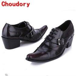 Choudory/Мужские модельные туфли с острым носком на шнуровке; черные кожаные туфли с натуральным лицевым покрытием на высоком каблуке с пряжкой...