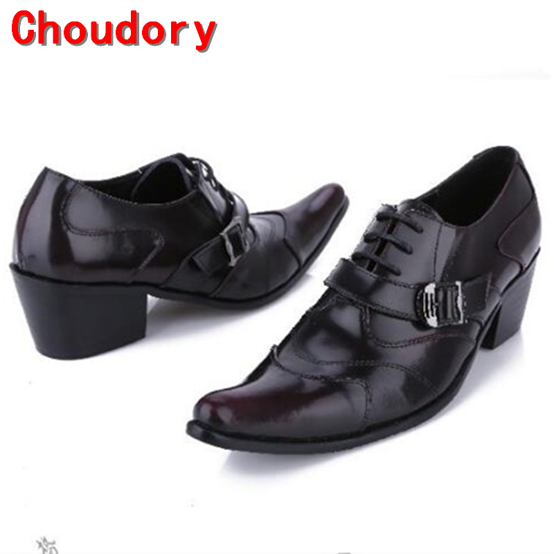 Choudory Large size EUR46 Pointed Toe lace up mens dress shoes black full grain leather high heels buckle smoking shoes men massage natural cobblestone agate stone massage slippers foot care at home foot acupoint massager