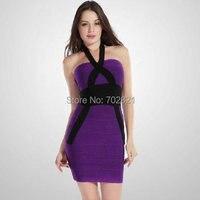 Wholesale Purple Sexy Women Evening Dresses New Fashion Sexy Bandage Dress Women Dress HL8129 2