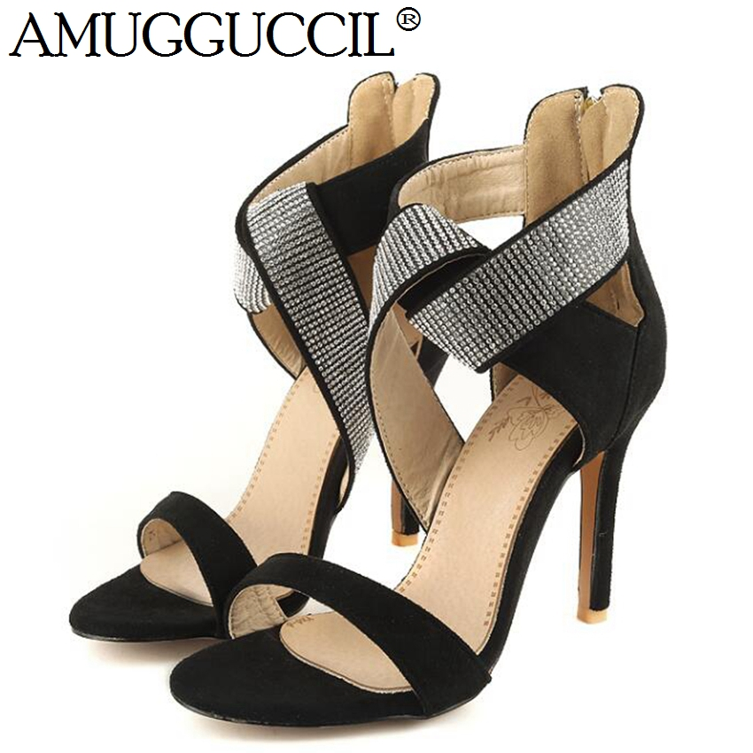 2018 New Arrival Plus Big Size 32-46 Black Red Blue Zip Crystal Fashion Sexy High Heel Summer Female Lady Women Sandals L933