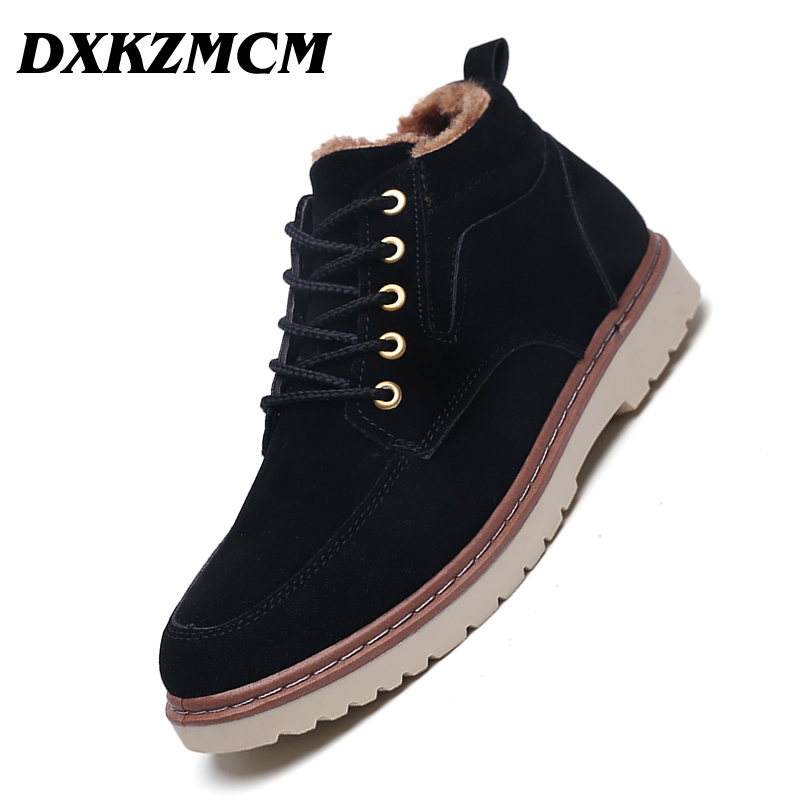 DXKZMCM Super Warm Men's Winter Sued Leather Ankle Boots Men Autumn Snow Boots Leisure Martin Autumn Boots Mens Shoes mycolen new men s winter leather ankle boots fashion brand men autumn handmade boots leisure martin autumn boots mens shoes