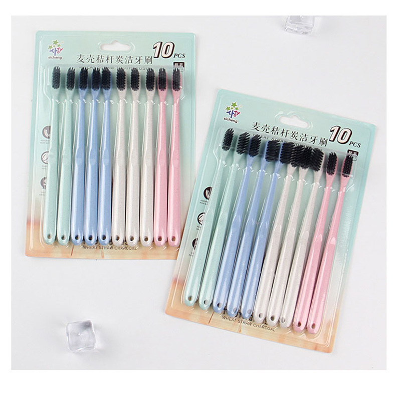 Natural 10pc Colorful Lovely Family Toothbrush Big Package Soft Brush Degradable Oral Care Nano-antibacterial Cute Mini Heads image