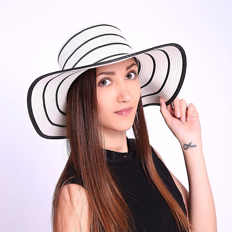 1203cbe69a9 2015 New Fashion Black and white stripes Hats For Women Summer Straw ...