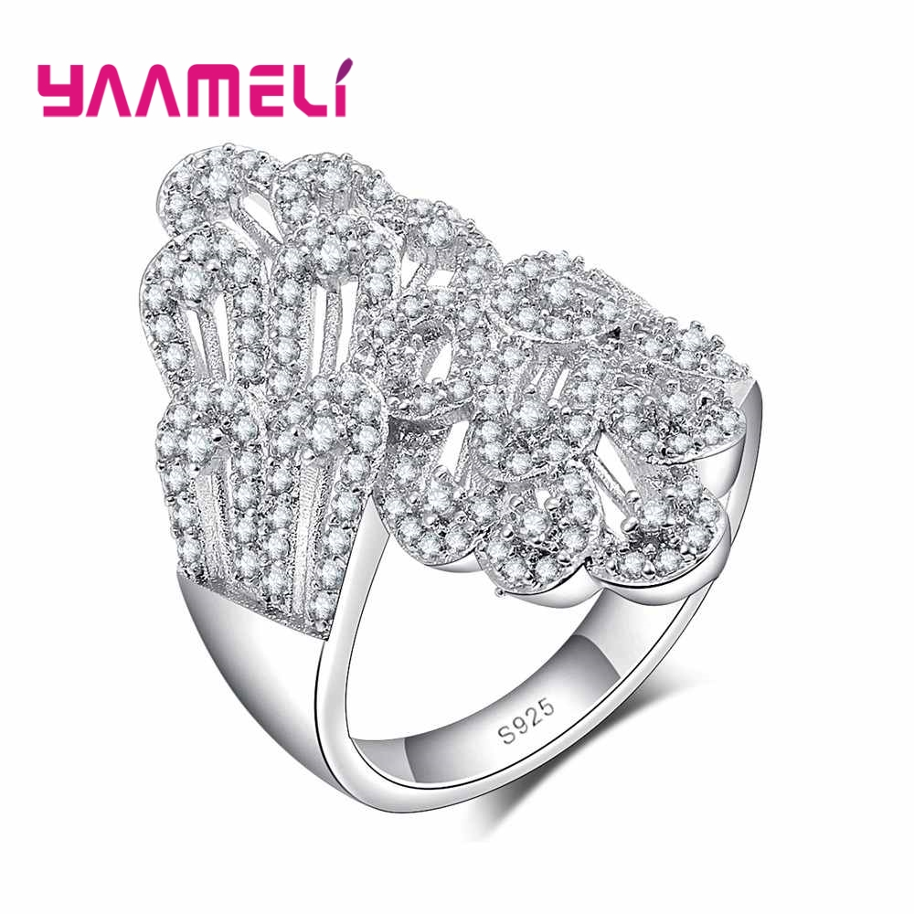 YAAMELI Trendy Sparkling Cubic Zirconia Engagement Wedding Promise Rings 925 Sterling Silver Jewerly for Women Girls Party Bijou