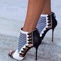 ZK Moda Sexy Zapatos Bombas Botas De Mujeres Tacones Altos Botines de Punta abierta Banquete de Boda Zapatos de las sandalias tamaño 35-44