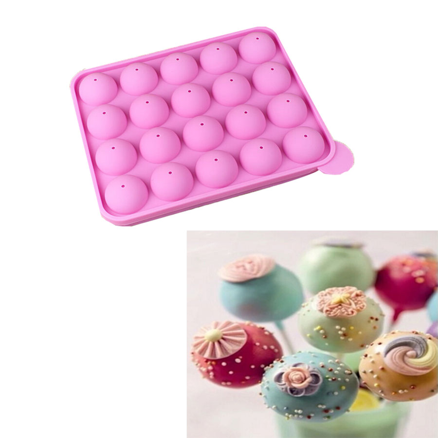 new silicone non stick cake pop set baking tray mold birthday party 20 units 020077 us541. Black Bedroom Furniture Sets. Home Design Ideas
