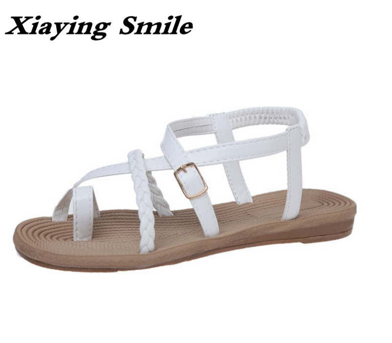 Xiaying Smile Summer  Woman Sandals Casual Fashion Women Flats Concise Black White Buckle Strap Narrow Band Student Women Shoes xiaying smile summer new woman sandals platform women pumps buckle strap high square heel fashion casual flock lady women shoes