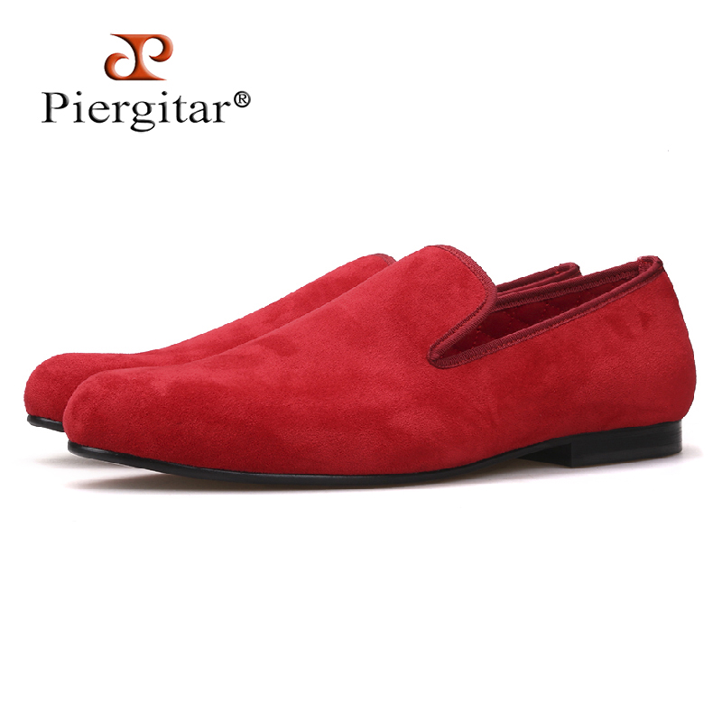 Piergitar new Handmade red colors velvet men loafers party and wedding men smoking slippers plus size men's casual shoes цена