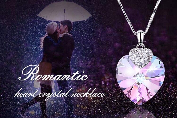 HTB13kWQfVkoBKNjSZFkq6z4tFXau Swarovski Crystal Necklace Heart Shape Amethyst Crystal Pendant Necklace Fashion Jewelry Choker Necklace Gift for Lady Collares