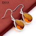 ENYA Xmas Gift Shiny Synthetic Brazil Citrine Drop Earrings Hot Silver Plated Earrings For Women E0077