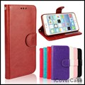 Crazy horse pu capa de couro carteira case para iphone 6 com slot para foto