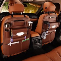 OHANEE leather Car back seat organizer storage pockets case for ford bmw passat toyota peugeot car styling lada accessories|auto bag|car backseat|seat organizer -