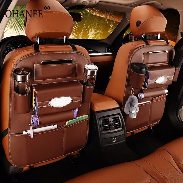 OHANEE leather Car back seat organizer storage pockets case for ford bmw passat toyota peugeot car styling lada accessories