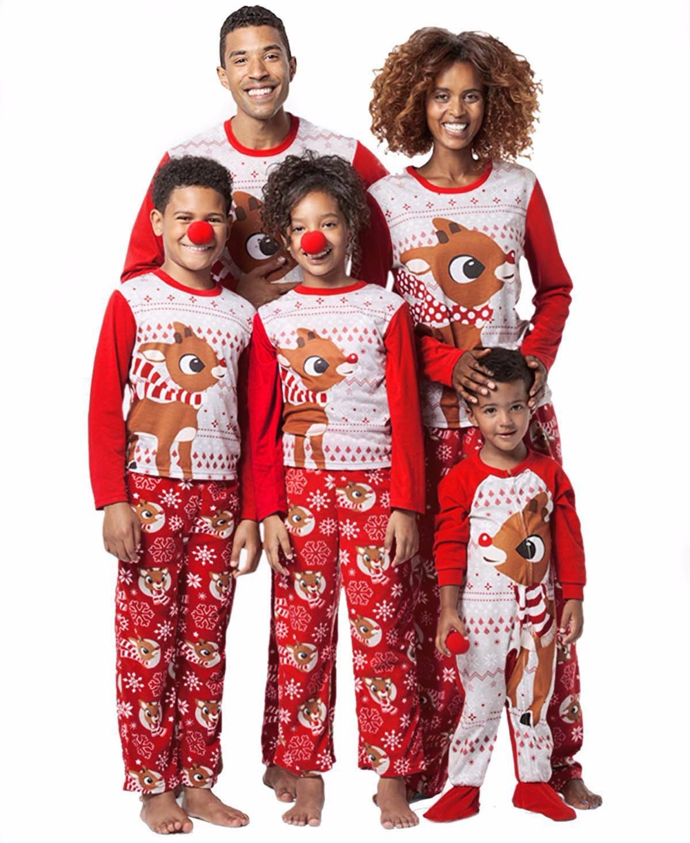 Family Matching Outfits Pajamas-Set Nightwear Kids Red Fashion Adult Sleepwear