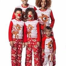 Одинаковые комплекты для семьи, модный Пижамный комплект для взрослых и детей, одежда для сна, красная пижама, Рождественский пижамный комплект