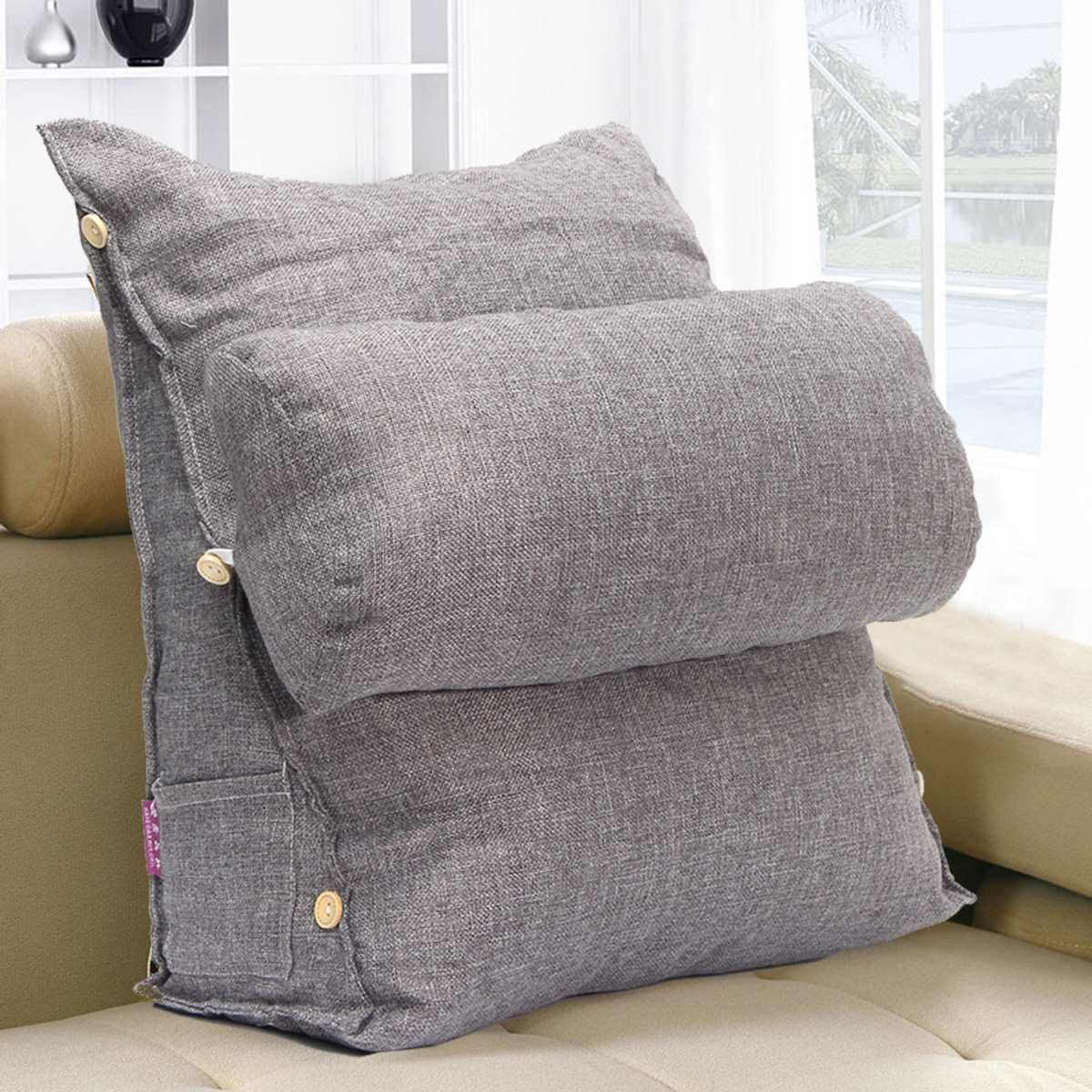 Bed pillow chair - Gray Adjustable Sofa Bed Pillow Chair Rest Neck Support Back Wedge Cushion Fip Pillow Cervical Protection