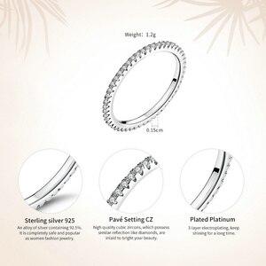 Image 5 - [[Kup 4 sztuk zapisz więcej 5%]]VOROCO prawdziwe 925 srebro proste obrączka brokat wyczyść kryształowa biżuteria CZ BKR066
