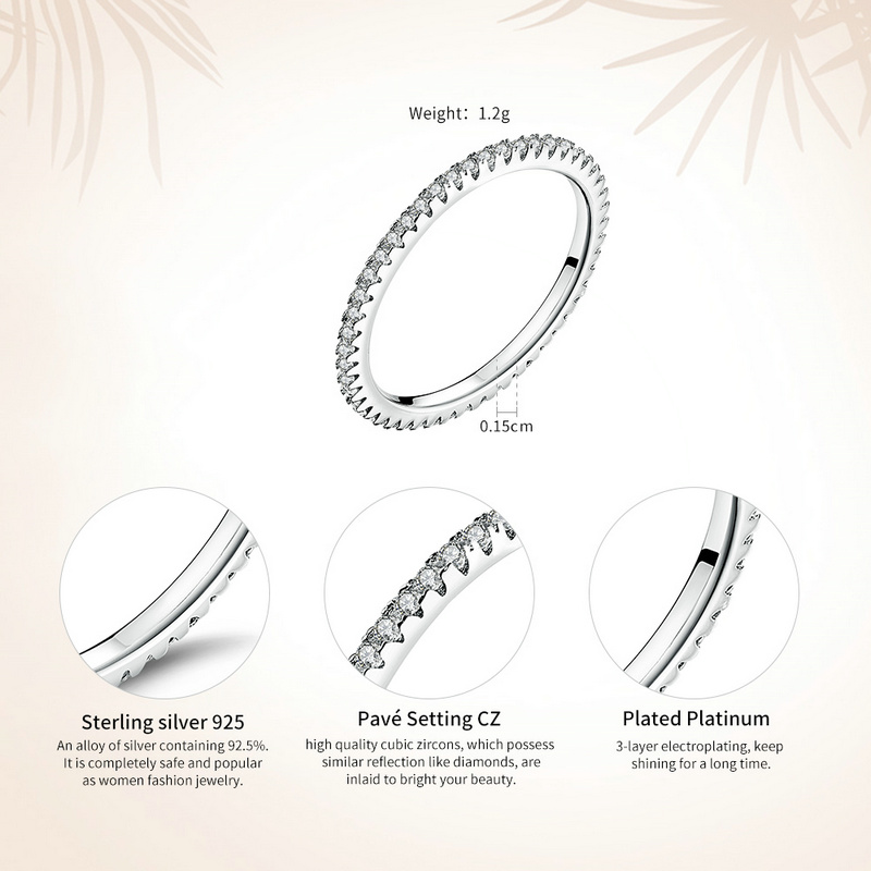 Image 3 - VOROCO Real 925 Sterling Silver  Simple Design Round Wedding Ring Glitter Clear CZ Crystal Rings Woman Fine  Jewelry BKR066-in Rings from Jewelry & Accessories