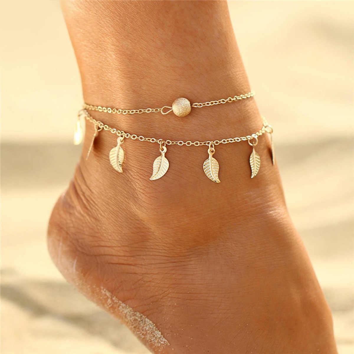 ทองเงินหินสีสร้อยข้อเท้าสร้อยข้อมือ Bohemian แฟชั่นฤดูร้อนชั้นชายหาดเครื่องประดับ Tobilleras De Plata Para Mujer