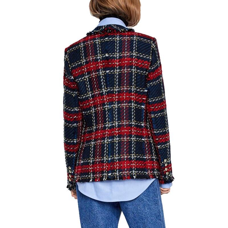 Blazer Mujer 2019 Fashion Tweed Knitted Plaid Jackets Coats Ladies Elegant Single Breasted Blazer Outerwear Jacket Women Blazers