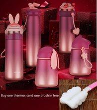 300-400ml paslanmaz çelik Termos kupa tavşan karikatür taşınabilir Thermoscup hediye Termos şişe yalıtımlı fincan kadınlar vakum şişeleri