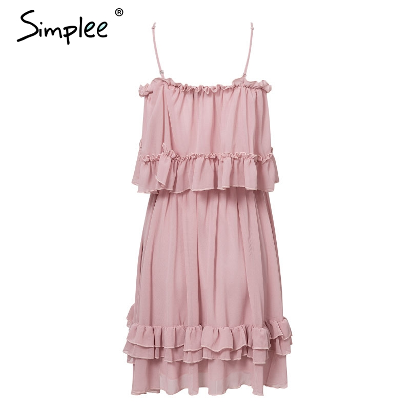 Simplee Elegant ruffle off shoulder women dress Spaghetti strap chiffon summer dresses Casual holiday female pink short sundress 15