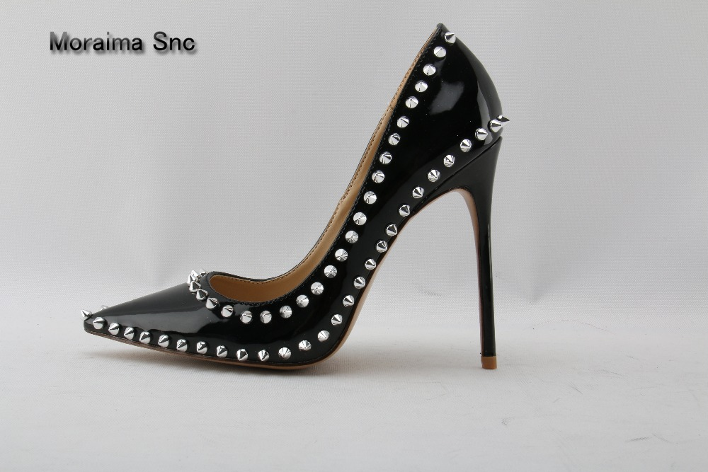 Moraima Snc brand Rivet Studded High Heel Shoes 2018 Pointed toe Thin Heels Shoes Woman Sexy Slip-on Pumps Black Pather Leather