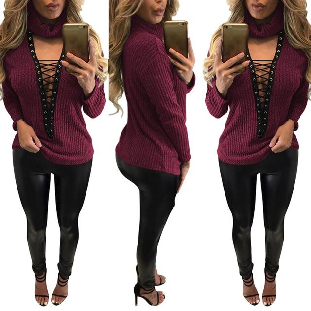 Feminino T-shirt Outono Nova Rainha Rei Top Sexy de Gola Alta Rendas até Cor sólida T Shirt Mulheres Tops de Culturas Camisetas Mujer Camiseta