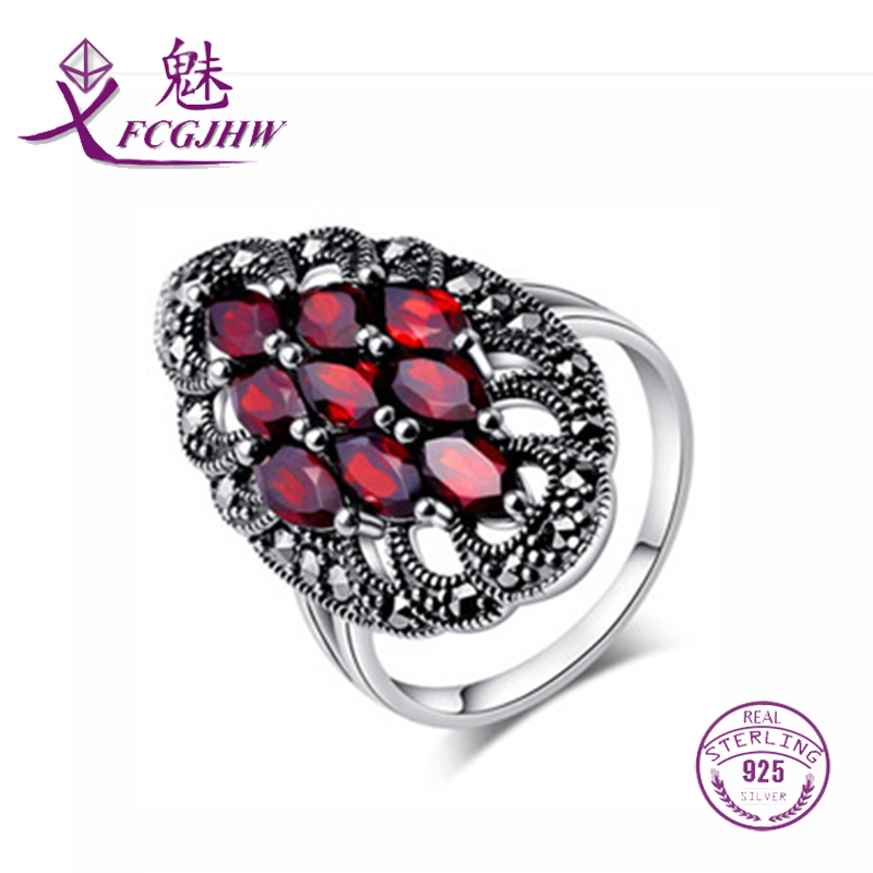 Rings For Women finger 2017 Silver 925 Fine Jewelry Oval Red Garnet Stone Vintage Statement Europe Style For Ladies Party Luxury