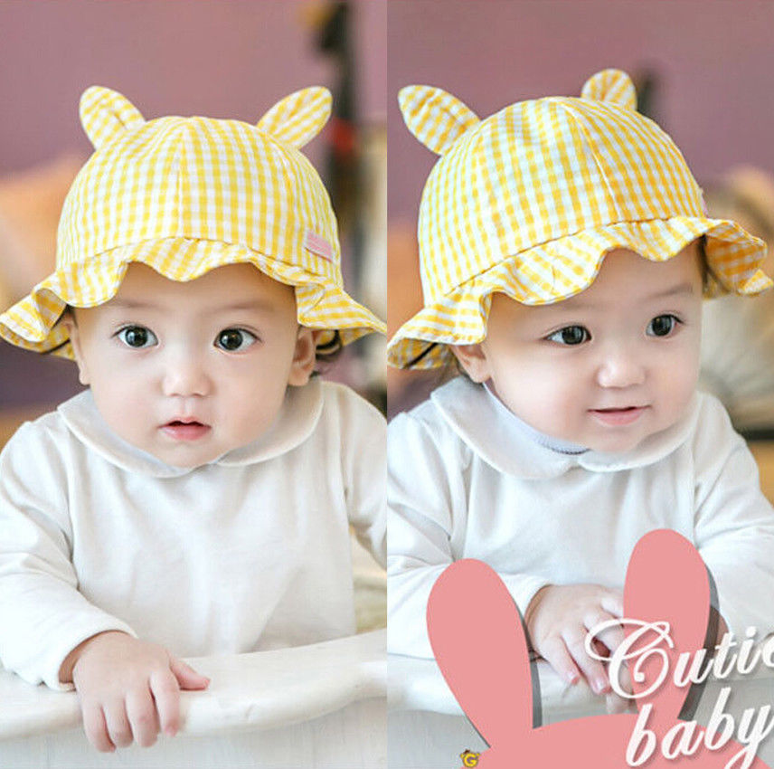 46e1de0e988 2018 Brand New Toddler Infant Newborn Kid Baby Boy Girl Summer Beach Sun Hat  Cute Rabbit Ear Outdoor Checked Ruffled Caps Gifts -in Hats   Caps from  Mother ...
