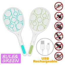 NEW 2PCS Blue/Green Mosquito Swatter Killer USB Rechargeable Electric LED light Tennis Bat Handheld Racket Insect Fly Bug Wasp(China)