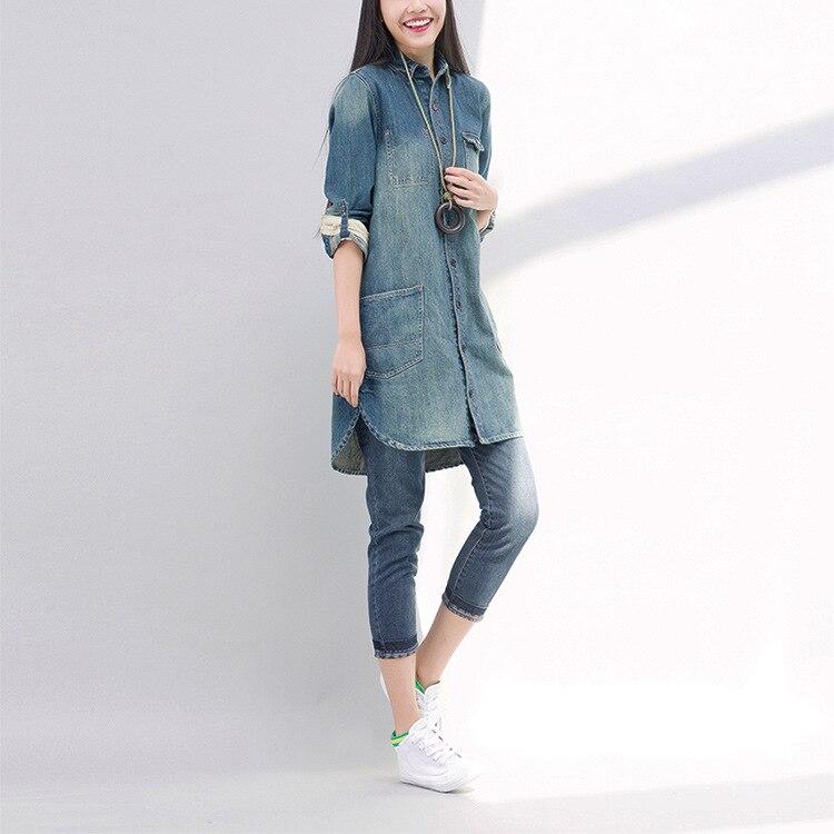 Automne Vintage Harajuku Rétro Hiver Long Et Jeans Tench Hippie Slim Coton Manteau Japonais Femmes Épais Veste Denim Poche Boho qZAfB4w4