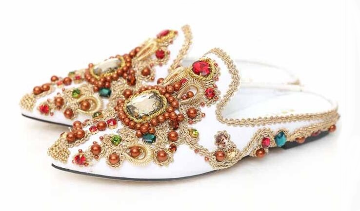 Women's Flat Sharp Head Inlaid Crystal Baotou Slippers Shining Delicate Handmade Vintage Sandals National Style Big Size Shoes