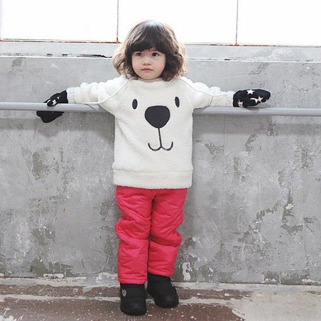 Children Baby Clothing Boys Girls Lovely Bear Furry White Coat Thick Sweater Coat
