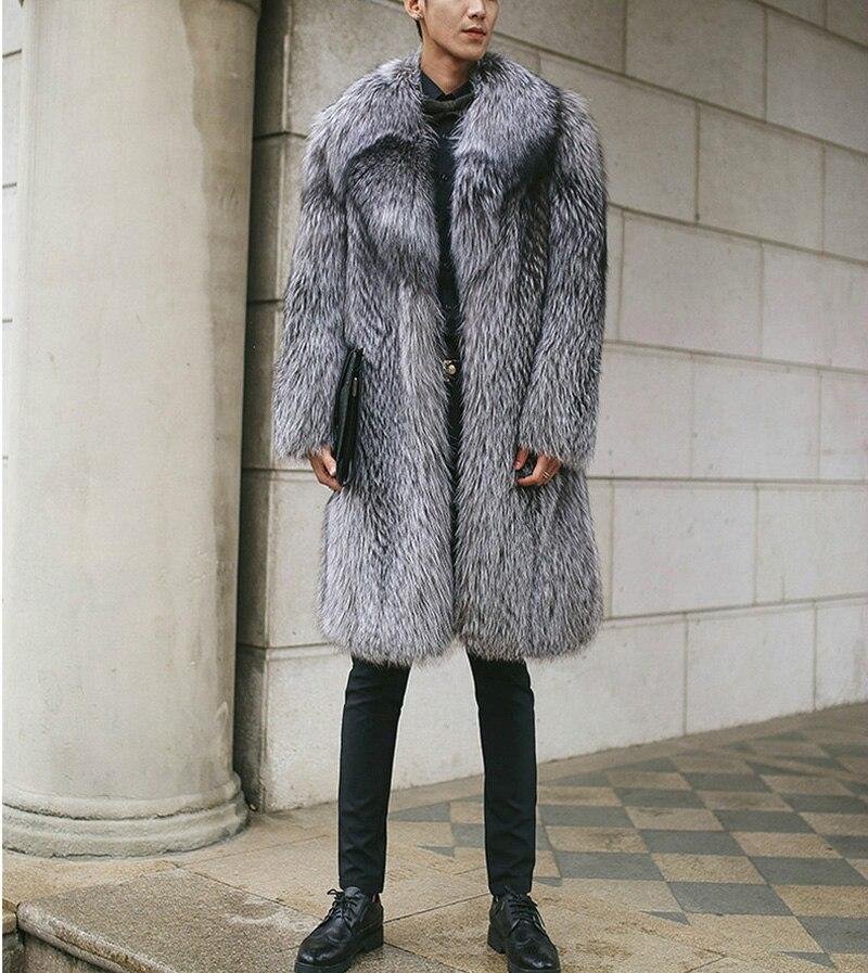 Mannen Luxe Noorden Winter Warm Faux Fur Lange Jas 2018 Brand New Faux Fox Fur Thicken Notched Overjas Mannen punk Uitloper Grijs-in Kunstleerjassen van Mannenkleding op  Groep 2
