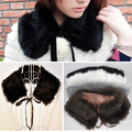 MYPF Ladies Faux Fur Shawl  Ribbon Bow Collar  Scarf - Black/gray/coffee