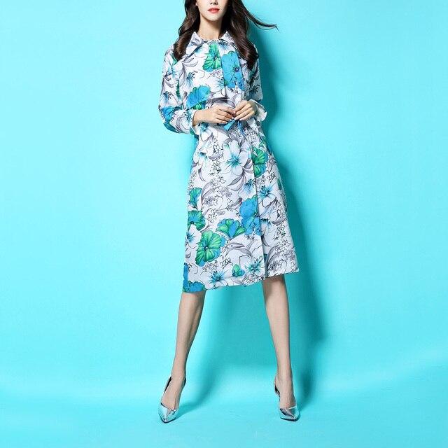 European Fashion 2016 Autumn Thick Cotton Linen Outwear Vintage Print Medium-long Plus Size Windbreaker Female Trench Coats