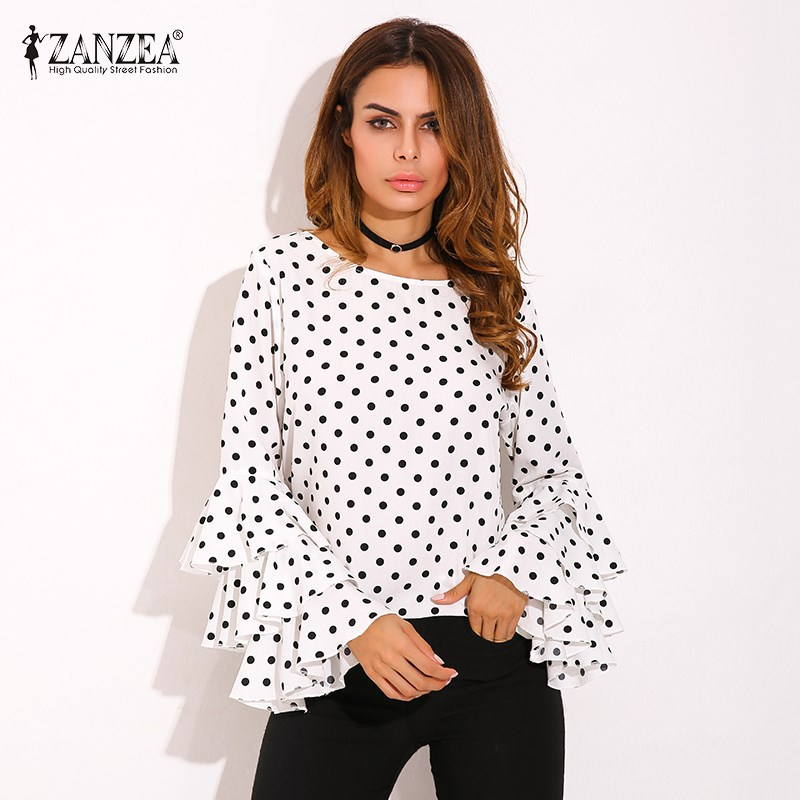 HTB13kYASpXXXXXraXXXq6xXFXXXq - Womens Spring Flounce Long Sleeves Blouse Office