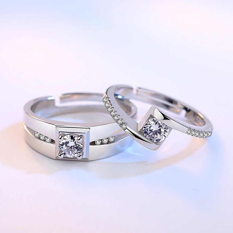 Nhẫn Zircon Nhẫn Cưới 925 Sterling Silver Bạc Màu Sắc Nhẫn Đối Với Phụ Nữ Anel Người Đàn Ông Trang Sức Anillos Couple Trang Sức Valentine của Ngày