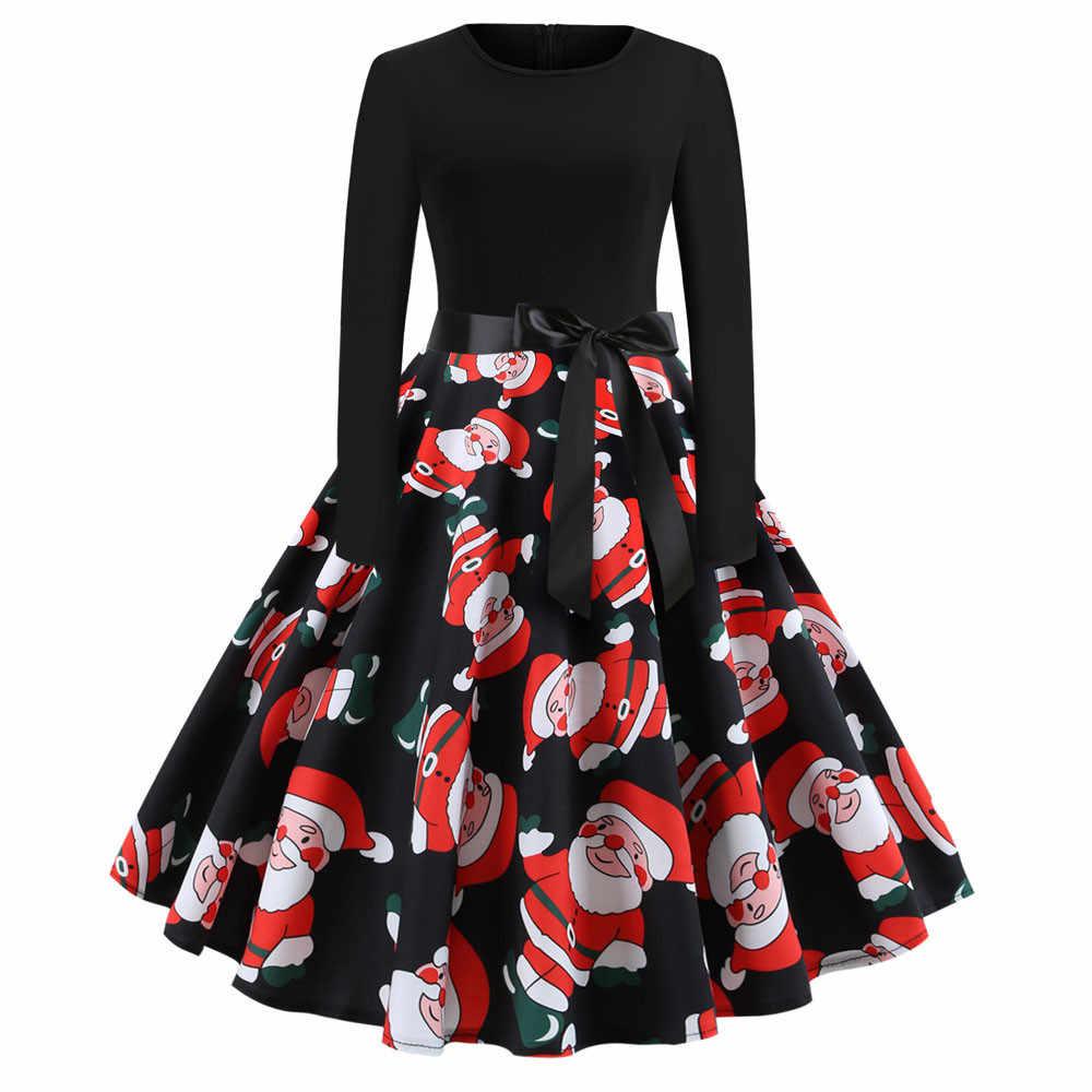 6408610204 Feitong Fashion Bow Dress Elegant Ladies Women s Vintage Print Long Sleeve Christmas  Dress Black Evening Party