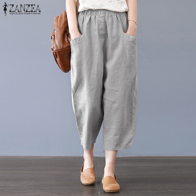 Plus Size ZANZEA Women Elastic Waist Long Harem Pants Solid Cotton Linen Loose Trousers Work Office Pantalon Casual Streetwear