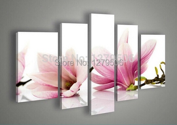 100% Handmade High Quality Wall Art Home Decoration Picture Oil Painting On Canvas 5 Piece/set Pink Flowers
