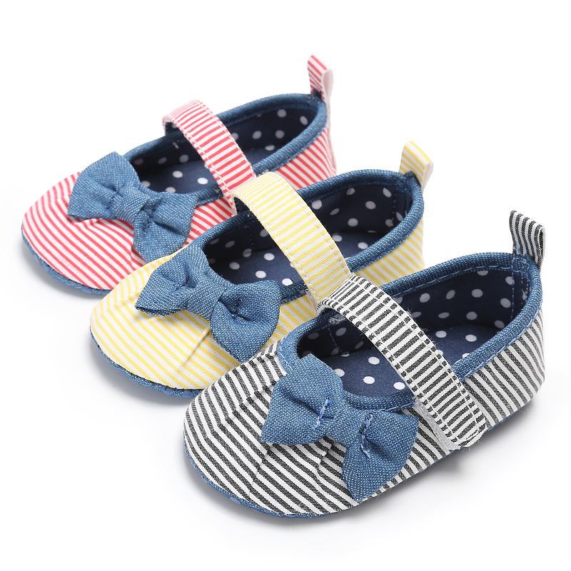 Kacakid 2017 Newborn Baby Infant Toddler Bowknot Shoes Girls Princess Mary Jane Striped Inner Polka Dot First Walkers Footwear