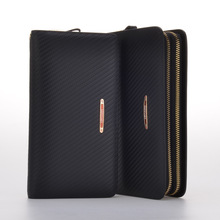 Luxury Men Wallets Brand Fashion Genuine Leather Bag Natural Cowhide Wallet Double Zipper Men Clutch Bags Carteira Masculina