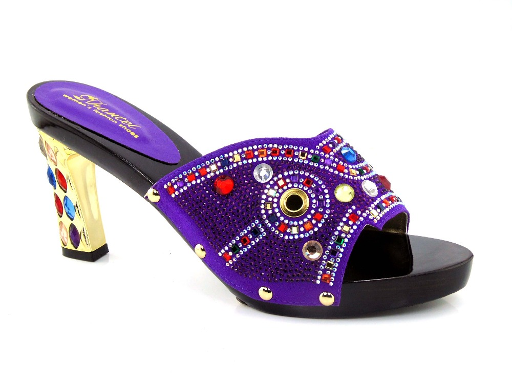 ФОТО purple colorful African Style Woman Shoes summer Sandals African middle Heels With Luxury Rhinestones Factory Price! Q1-50